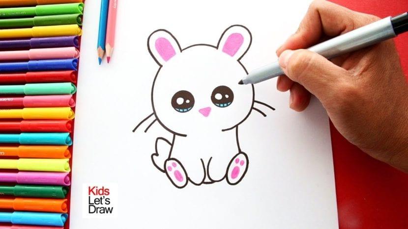 El conejo Kawaii es un dibujo animado adorable